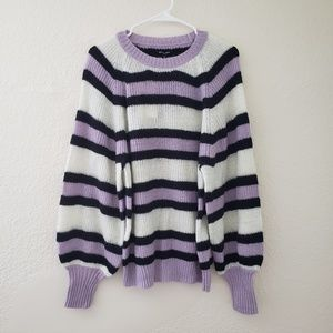 Striped Long Sleeve Cozy Crew Neck Sweater Purple